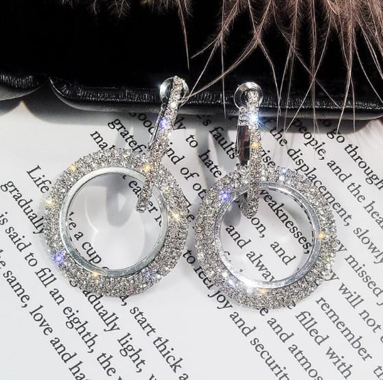 big earrings, large, round, zircon, crystal, diamonds, jewellery