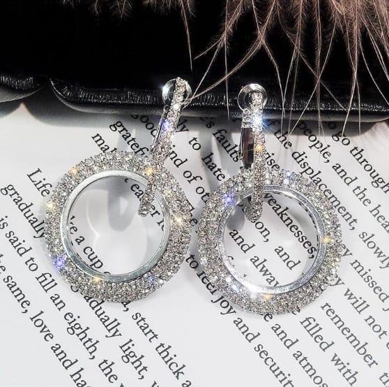 big earrings, large, round, zircon, crystal, diamonds, jewellery