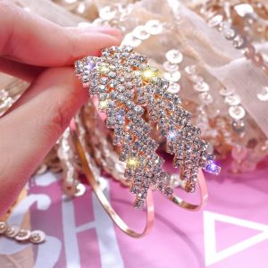 grote oorbellen, hoops, kristallen, sieraden, feest, dames, accessoires, goud