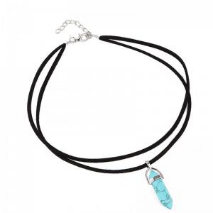 Zwarte Laagjes Choker Met Blauwe Natuursteen. Klik hier voor meer leuke zwarte chokers. Shop alle musthave sieraden bij Aphrodite. Gratis verzending.