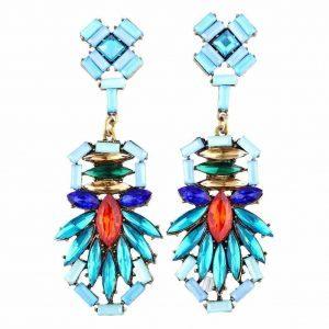 statement oorbellen met blauwe en oranje kristallen steentjes.De oorbel bestaat uit drie verschillende kleuren blauwe steentjes.In het midden zit een oranje kristal.Sieraad,sieraden