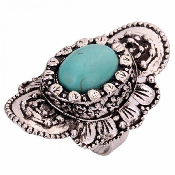bohemian ring, bloem,zilver,boho,sieraden