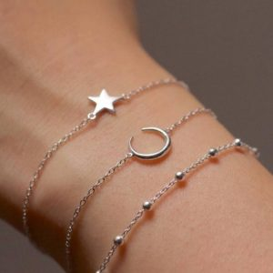 bracelet set, star, moon, silver, jewellery