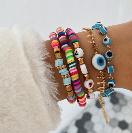bracelet set, armcandy, armparty, colorful, evil eye