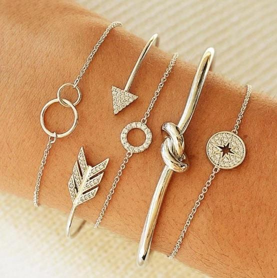 bracelet set, arrow, knot, circle, round, crystal