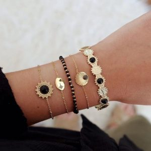 bracelet set, black, jewellery, jewelry, gift, trendy