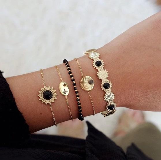 bracelet set, black, jewellery, jewelry, gift, trendy