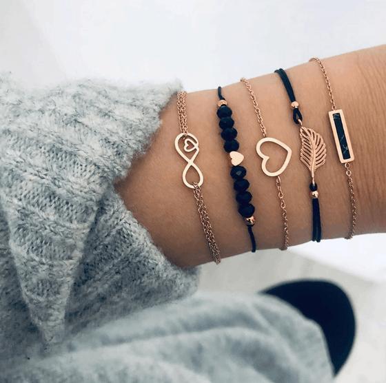 bracelet set, gold, black, infinity, heart, minimalist bracelets