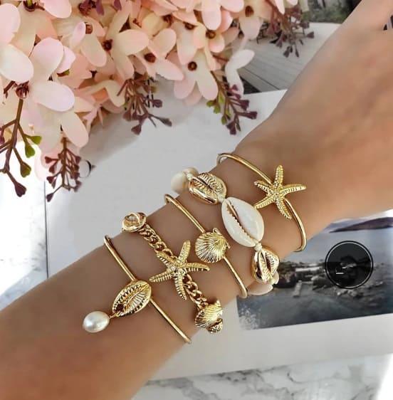 bracelet set, shells, starfish, pearl, gold, beach, jewellery