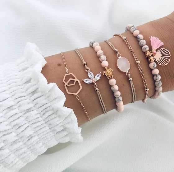 armbanden set, roze kralen, schildpad, kristallen, roze steentje