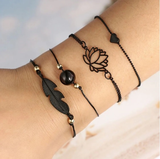 bracelet set, black, jewellery, black bead, leaf, heart, lotus