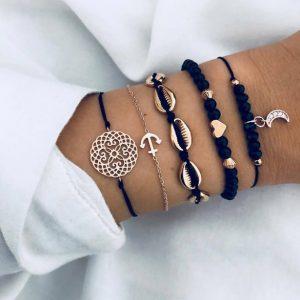 armbanden set, zwart, anker hanger, gouden schelpen, maan hanger, hartje