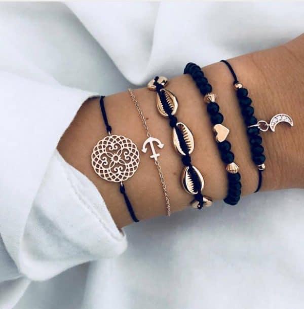 bracelet set, black, shells, heart, moon, anchor, jewellery