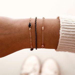 bracelet set, black, zirconia, jewellery, gold, aphrodite, minimalist