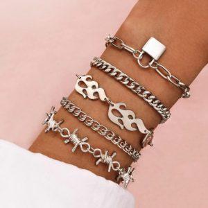 schakelarmbanden set, zilver, slot, sieraden, dames, jewellery, jewelry