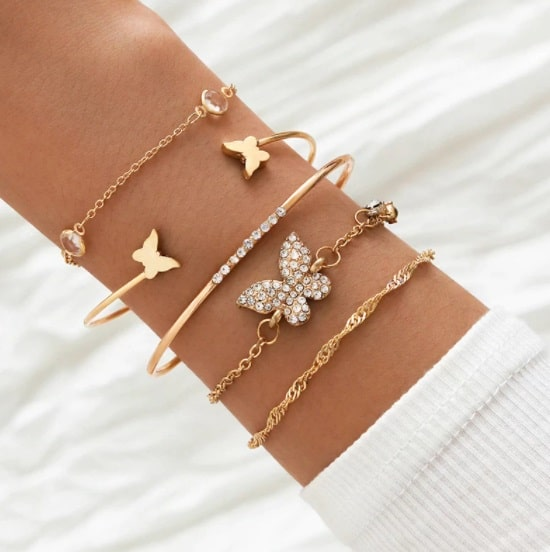 bracelet set, butterfly, gold, Crystal, jewellery, jewelry