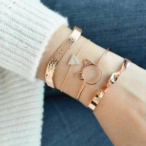 armbanden set, goud, kat, minimalistische armband, cuff armbanden, sieraden