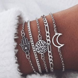 bracelet set, chain, hamsa hand, moon, round, jewellery