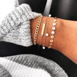 chain armbanden set, goud, 4 stuks, sieraden, fashion