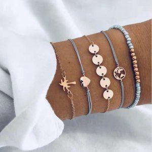 Armbanden set, munt, wereldkaart, kralen, hartje, sieraden