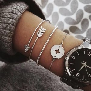 bracelet set, compass, silver, arrow, jewellery, jewelry