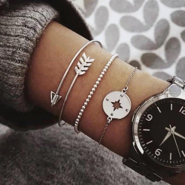 bracelet set, compass, silver, arrow, jewellery, jewelry