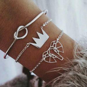 bracelet set, crown, knot, elephant, jewellery