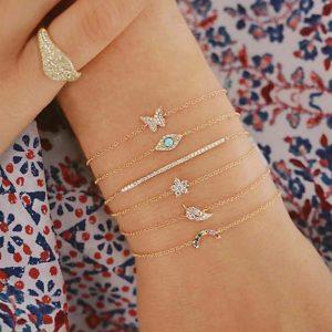 bracelet set, crystal, bar, eye, butterfly, rainbow, leaf