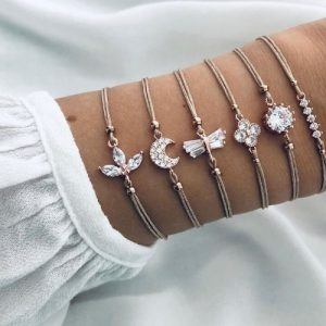 bracelet set, zirconia, crystal, silver, rope, jewellery