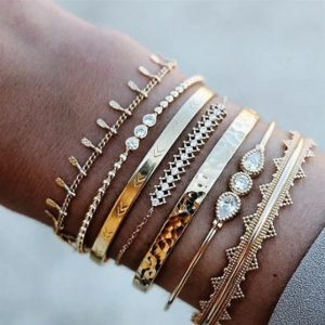 armbanden set, goud, zircon, kristallen, minimalistische, fijn, subtiel, sieraden
