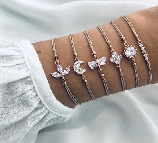 bracelet set, zirconia, crystal, silver, rope, jewellery