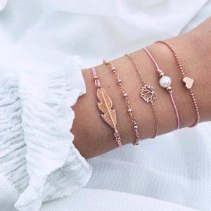 armbanden set, elegant, sieraden, veer, lotus, hartje, parel, rose goud
