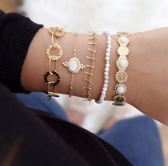 bracelet set, gold, white, cuff bracelets, minimalist, delicate