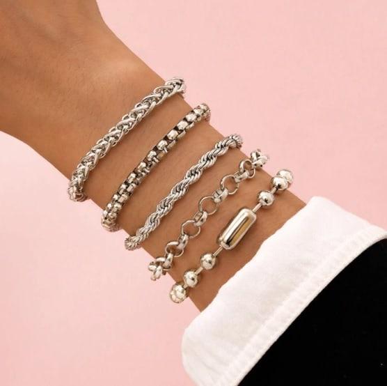 bracelet set, silver, jewellery, jewelry, women, chain