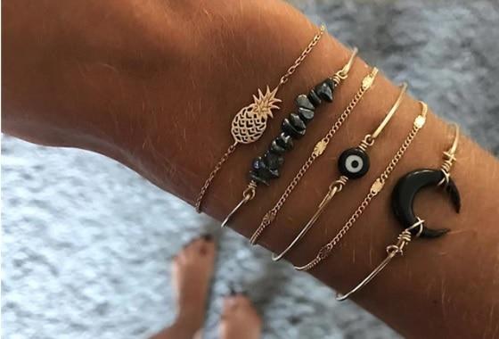 armbanden set boze oog, zwart