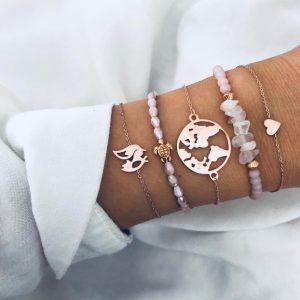 bracelet set, fox, worldmap,heart, turtle, jewellery