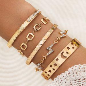 bracelet set, gold, galaxy, star, moon, cuff bracelet, crystal, diamond