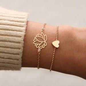 armbanden set, lotus, hartje, dames, sieraden, musthave, goud