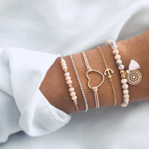 armbanden set, hart, roze, anker, sieraden