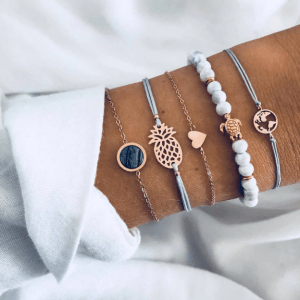 Bracelet Set, Heart, Gold, Ananas, Turtle, black stone, worldmap, jewellery