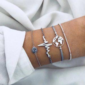 Bracelet set, heartbeat, silver, jewellery, worldmap