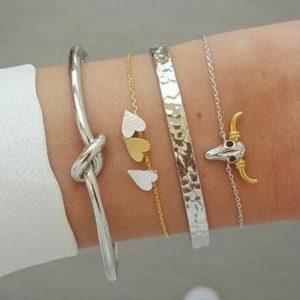 armbanden set, zilver , goud, hartjes, sieraden