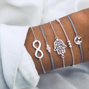 armbanden set, infinity, hamsa hand, wereldkaart, zilver