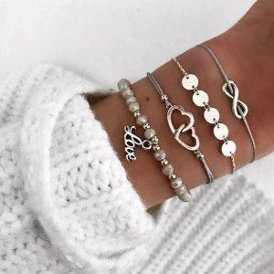 armbanden set, infinity, hartje, love, kralen armband ,elastische armband