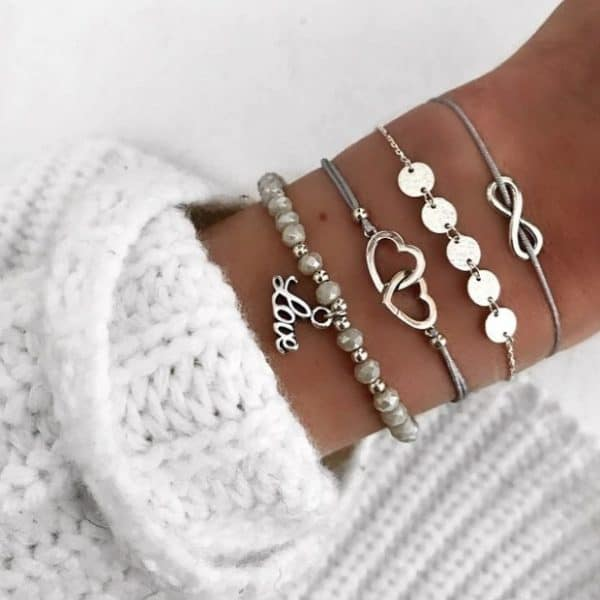 Bracelet set,infinity, beads, double heart, coins, love