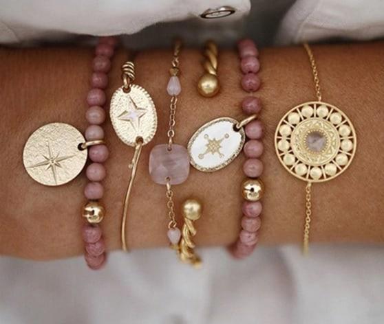 bracelet set, gold, jewellery, jewelry, women, beads