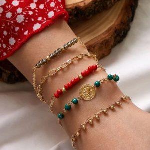 bracelet set, gold, beads, red, green , gray, jewellery