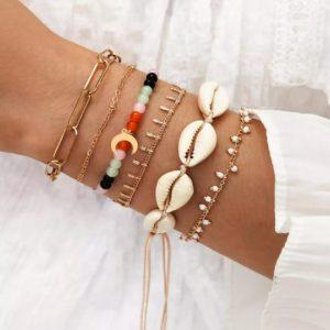 armbanden set, kralen, sieraden, accessoires, dames, schelpen, maan, jewellery, jewelry