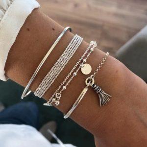 armbanden set, zilver, fijne armbandjes, subtiel, minimalistische, cadeau, vriendin, moeder, kerst