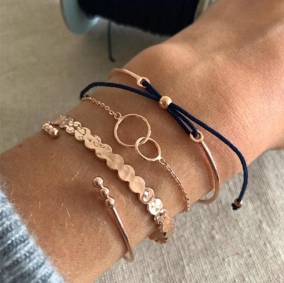 bracelet set, jewellery, gold